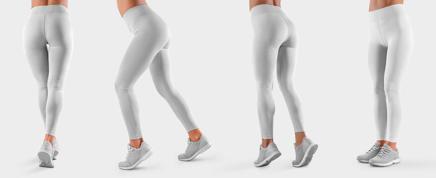 Mockup of women's white leggings on a fit girl, sweatpants front, side, back, for presentation of design and advertising in the online store.