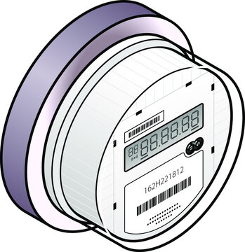 A smart / digital IoT household electricity / power meter with a 1-line LCD.