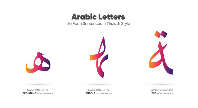 Arabic alphabet letters in Thuluth style - translation Arabic font is (letter H In different places in the sentence) for Ramadan Kareem and Eid Mubarak