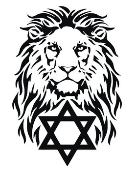 The Lion and the symbol of Judaism - star of David, Megan David, drawing for tattoo, on a white background, vector