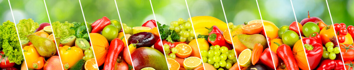 Wall Mural - Panoramic collection fruits, vegetables and berries separated by sloping lines