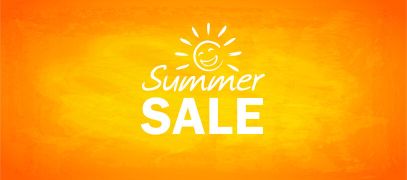 summer sale banner with happy sun doodle, hand drawn lettering and yellow paint textured background