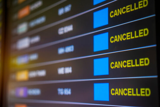View of Delayed and Cancelled flight display on Flight boarding in airport due to outbreak of Covid-19