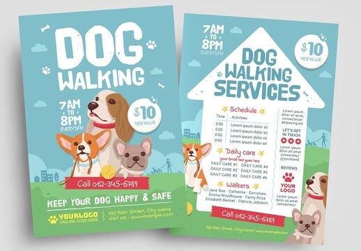 Dog Walking Flyer Layout with Puppy Illustrations