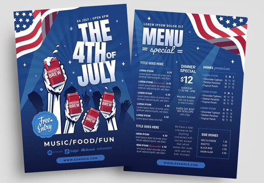4th July Party Flyer Layout with Celebratory Theme