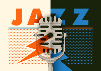 Retro jazz poster design with microphone and typography. Vector illustration. Wall mural