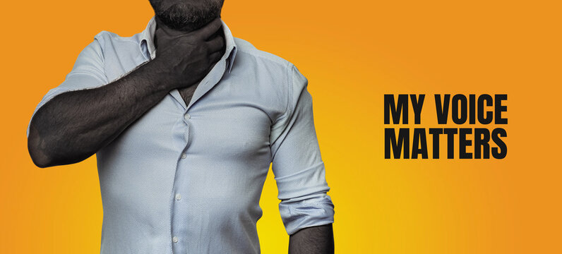 My Voice Matters. Equal Rights Of Black People Concept. Unrecognizable Black Man Holds Throat With Hand, copy-space banner