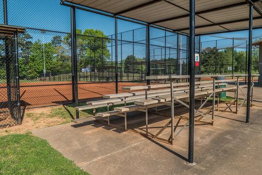 Empty bleachers at a baseball park