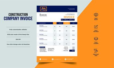 Construction Company invoice modern design template