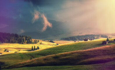 Fotomurales -  Scenic image. Fairy-tale Landscape with colorful overcast sky under sunlit, over the  Alpe di Siusi. Majestic Dolomites. Best Popular places for Photographers. Wonderful Autumn Scenery during Sunset