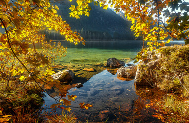 Fotomurales - Incredible Nature Landscape. Wonderful Scenic Image. Stunning sunny Landscape over the Lake.  Wonderful Sunny Scene with Calm Fairytale Lake. Autumn Landscape. Fall Colorful Leaves under sunlit