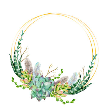 Golden frame with watercolor cactuses, leaves, and feathers. Watercolor golden geometric frame with succulents and flowers. Template for invitations, cards, weddings, logos, blogs.
