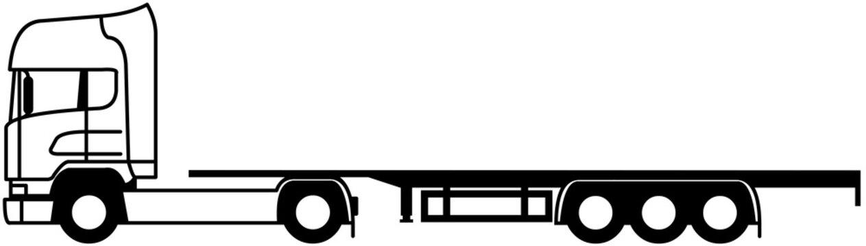 Container Truck - Flatbed Container Semi trailer - platform - monochrome - shape - silhouette - icon - 4x2 - european truck - semi trailer platform - open platform