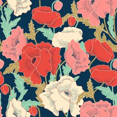 Seamless colorful floral pattern in folk style with flowers, leaves. Hand drawn. Vector illustration.