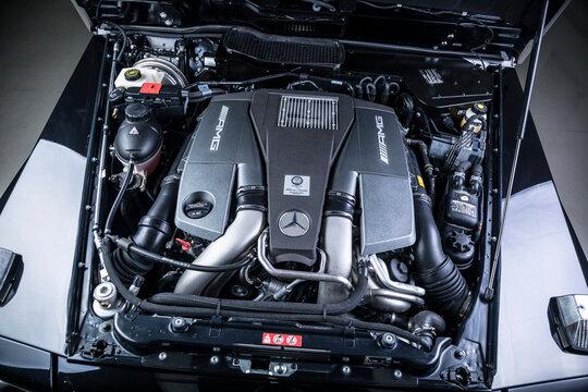Engine of Mercedes AMG car on October 23, 2017 in London, U.K.