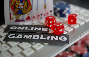 "Keyboard, cards, chips, dice and ""Online Gambling"" words are seen in this illustration picture"