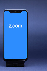 Belgorod , Russia - MAY, 29, 2020: Zoom Communications app and logo on screen. Popular video conference application icon on a mobile device