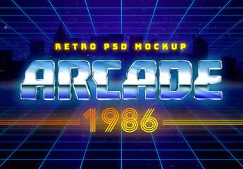 1980s Retro Arcade Mockup Text Effect