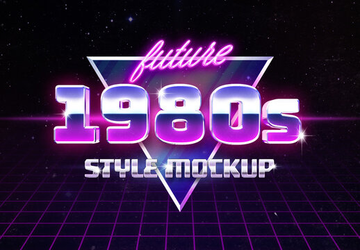 Retro 80's Style Logo Text Effect Mockup