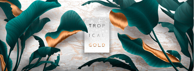 Palm leaves, gold, marble template, artistic covers design, colorful texture, modern backgrounds.Trendy pattern, graphic brochure. Luxury Vector illustration
