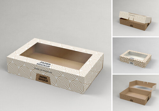 Flip Lid Box with Window Mockup with 3 Lid Options