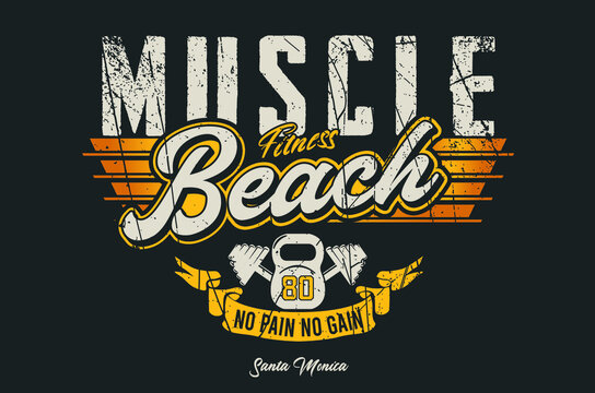 Muscle Beach , Santa Monica typography with Dumbell grunge effected vintage vector Illustration.