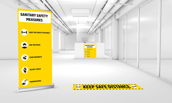 Signage to inform of the sanitary security measures