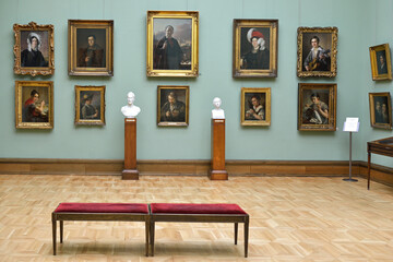 State Tretyakov Gallery, art gallery in Moscow, Russia. Hall of great Russian artist Tropinin