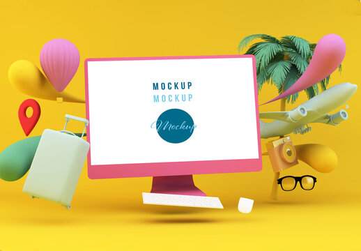 Computer Surrounded by Colorful Travel Essentials Mockup