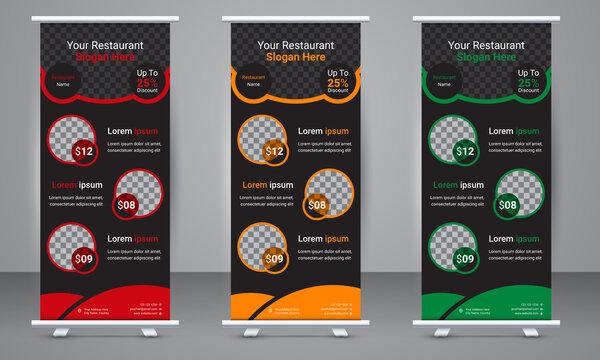 Restaurant business Roll up banner template design with three color variation. Standee Design, Brochure Flyer, Vector illustration, Annual Report, Magazine, Poster, Flag Banner Design.