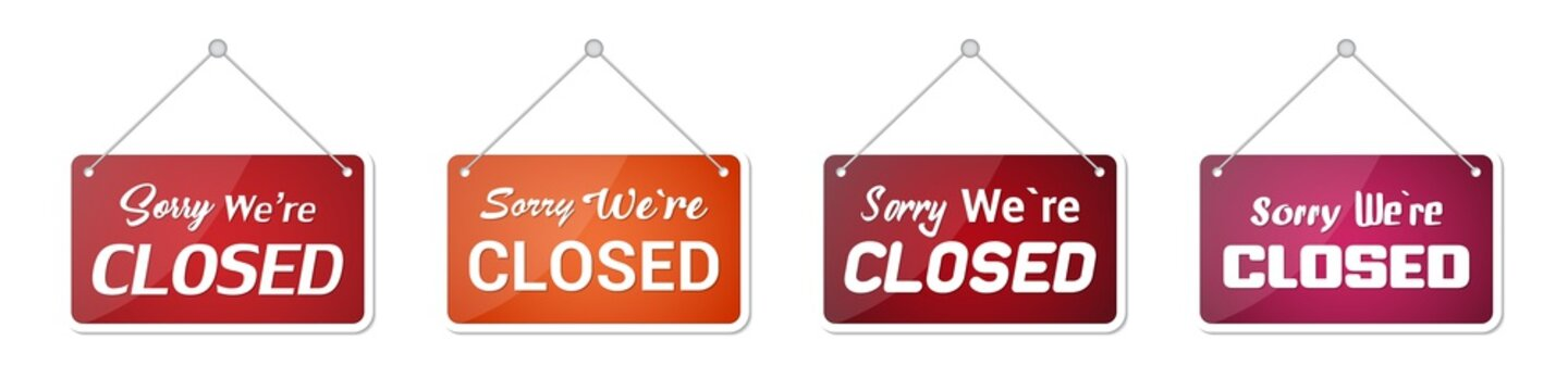 Set of sorry we're closed door sign on a transparent background