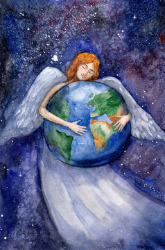 Watercolor drawing. Angel hugging the earth.