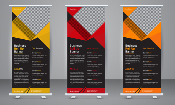 Corporate business Roll up banner template design with three color variation. Standee Design, Presentation and Brochure Flyer, Vector illustration, Annual Report, Magazine, Poster, Flag Banner Design.