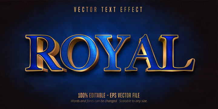 Royal text, blue color and shiny gold style editable text effect