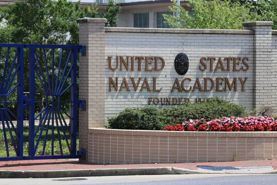 Annapolis, MD, USA - July 19, 2017: An entrance to the United States Naval Academy. The United States Naval Academy is a four-year coeducational federal service academy in Annapolis, Maryland.