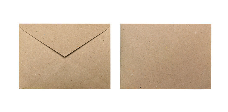 Front and back side of brown craft envelopes isolated on a white background