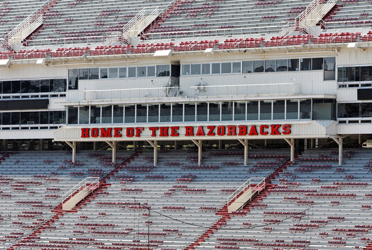 Fayetteville, Arkansas, USA – October 4, 2012: The Donald W. Reynolds Razorback Stadium sits empty during a day with no scheduled events. The stadium is home to the University of Arkansas Razorbacks.