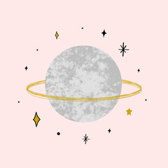 Vector illustration with Saturn with marble texture. Trendy Cosmic minimalistic landscape scene with stone textured planet and stars. Pastel grunge