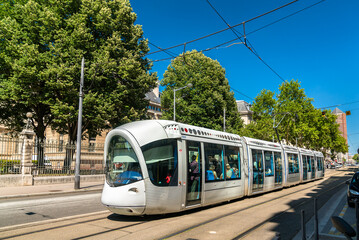 Lyon, France - July 11, 2018: Alstom Citadis 302 tram at Rue Servient in Lyon. Lyon's tram networks consists of 6 lines with 96 stations.