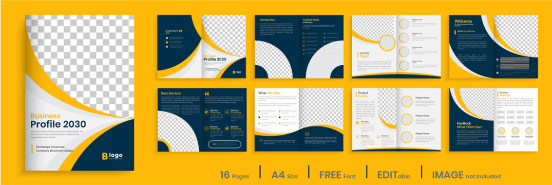 Orange business brochure template layout design, 16 page corporate brochure editable template layout, minimal business brochure template design.