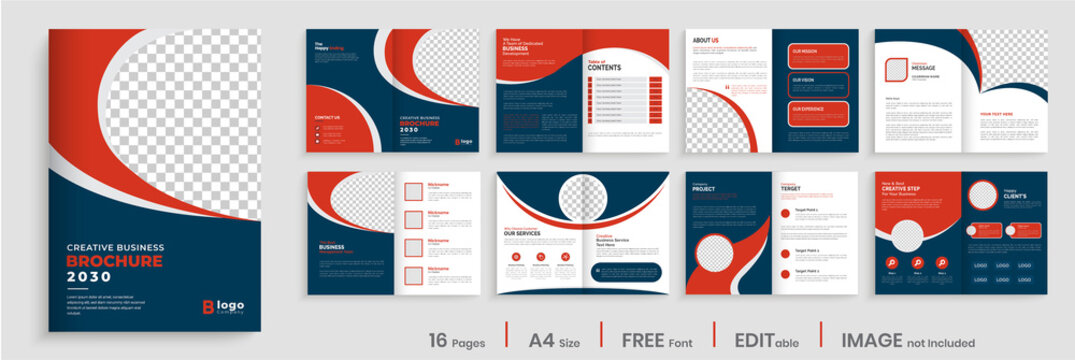 Brochure template layout design, creative business profile template layout, 16 pages, annual report, minimal, multipage brochure design.