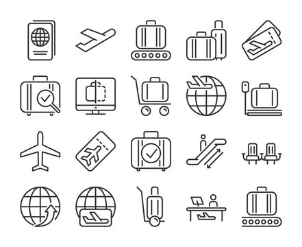 Airport icons. Airport and Air Travel line icon set. Vector illustration. Editable stroke.