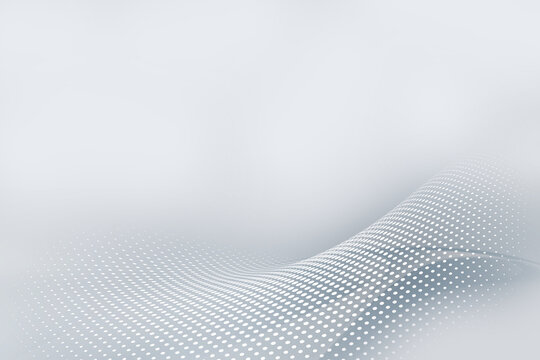 Gray perspective flow halftone waves background. Blurred pattern dots. Abstract creative graphic. Fantasy business design.