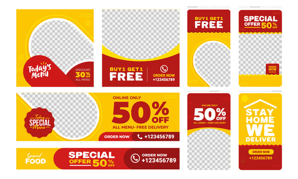 Social media post template design. Set of Editable fast food restaurant frame banner. Red and yellow background color. Suitable for web internet ads prmotion. Vector illustration with photo college.