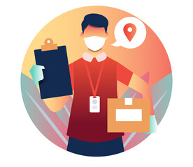 delivery man illustration who bring a box with board and pin location symbol