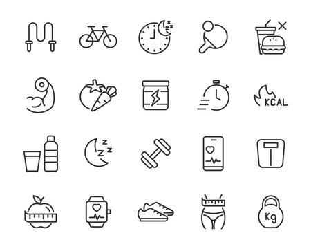 set of healthy life icons, fitness, sym, workout