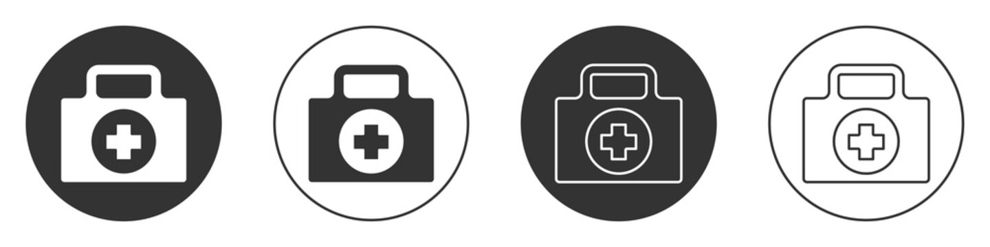 Black First aid kit icon isolated on white background. Medical box with cross. Medical equipment for emergency. Healthcare concept. Circle button. Vector Illustration.
