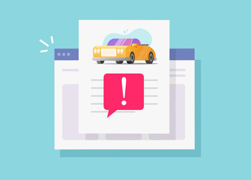 Car fake risk history online description report with warning vehicle access or internet website automobile instruction info document page with important caution notice message vector flat design image