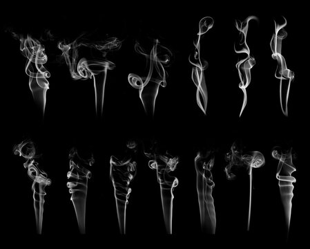 Beautiful big set of 13 white curve smoke brushes