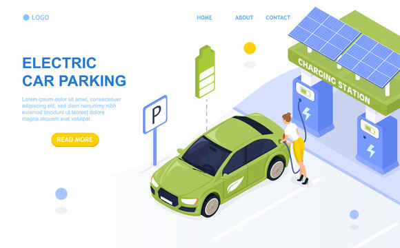 Electric Cars Parking. Charging station. Attractive girl is charging the car. Vehicle on lithium-ion batteries. The process of charging the car. Perfect for landing, web, banner or advertising. Vector